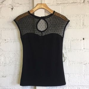 Rock Steady Black Fitted Mesh Top w/ Keyhole Back